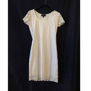 White Short Sleeve Dress with Pattern